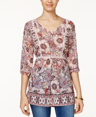 American Rag Printed Crochet-Trim Tunic Top, Only at Vogily