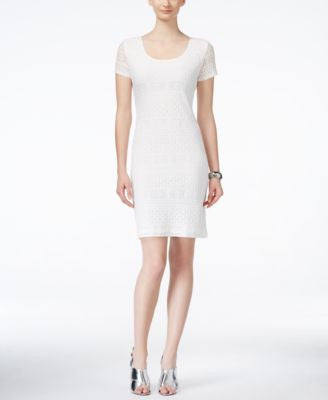 Ronni Nicole Short-Sleeve Lace Sheath Dress