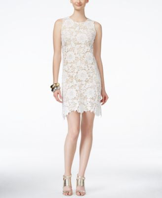 Ronni Nicole Sleeveless Floral-Lace Sheath Dress