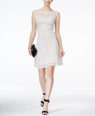 Ronni Nicole Sleeveless Polka-Dot Lace A-Line Dress