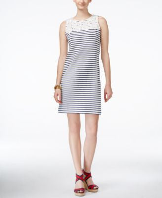 Tommy Hilfiger Sleeveless Crocheted Striped Sheath Dress
