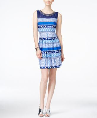Sandra Darren Sleeveless Embellished Printed A-Line Dress