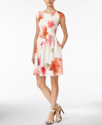 Calvin Klein Cap-Sleeve Floral-Print Scuba Fit & Flare Dress
