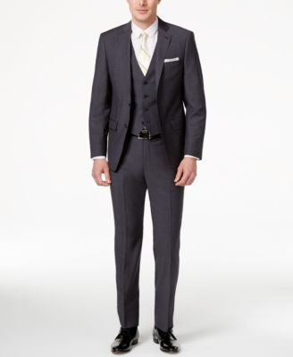 Calvin Klein Men's Extra Slim-Fit Neat Gray Vested Suit