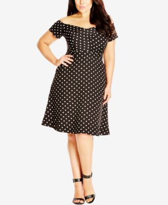 City Chic Plus Size Off-the-Shoulder Dot-Print Dress