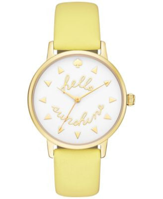 kate spade new york Women's Metro Lemonade Yellow Leather Strap Watch 34mm KSW1090