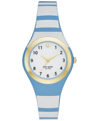 kate spade new york Women's Rumsey Blue and White Silicone Strap Watch 30mm KSW1088