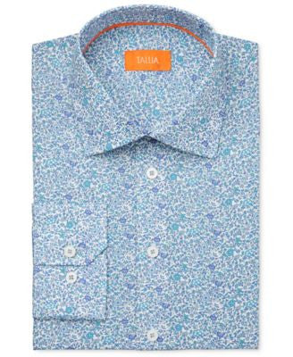 Tallia Men's Fitted Blue Floral-Print Dress Shirt