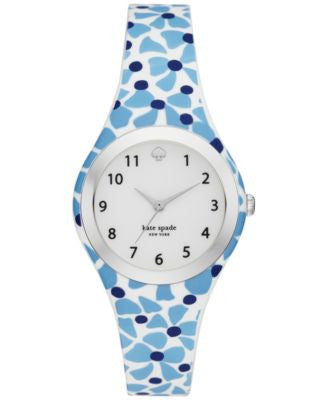 kate spade new york Women's Rumsey White, Blue and Navy Silicone Strap Watch 30mm KSW1087