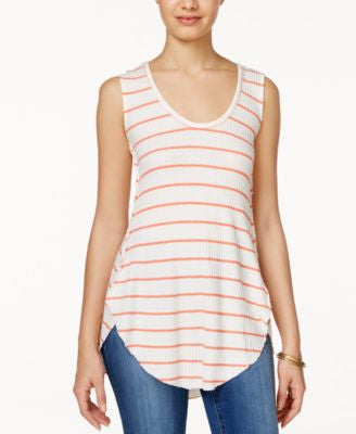 American Rag Striped Waffle-Knit High-Low Tank Top, Only at Vogily