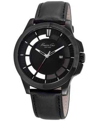 Kenneth Cole New York Men's Black Leather Strap Watch 45mm 10029297