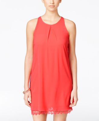 BCX Juniors' Sleeveless Lace-Hem Shift Dress