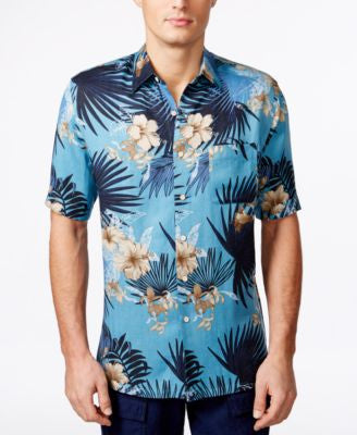 Tasso Elba Men's Big and Tall Tropical-Print Short-Sleeve Shirt, Only at Vogily