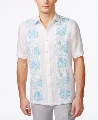 Tasso Elba Men's Big and Tall Pintucked Floral Short-Sleeve Shirt, Only at Vogily
