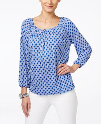 MICHAEL Michael Kors Petite Printed Reilly Peasant Top