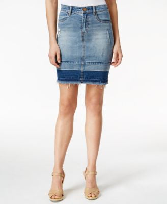 Kut from the Kloth Distressed Denim Skirt