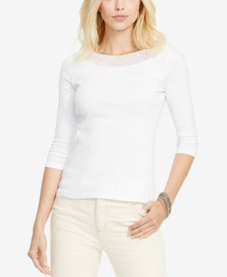 Lauren Ralph Lauren Plus Size Pointelle-Knit Top