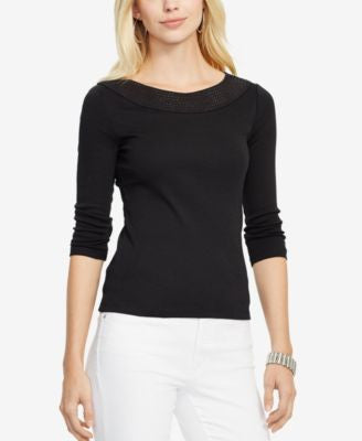 Lauren Ralph Lauren Petite Pointelle-Knit Cotton Top