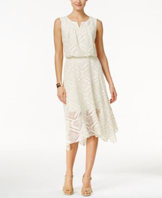 Style & Co. Split-Neck Crochet Dress, Only at Vogily