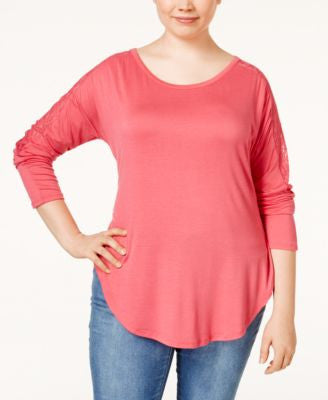 Rebellious One Plus Size Lace-Sleeve Knit Top