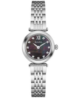 Bulova Women's Diamond Accent Stainless Steel Bracelet Watch 24mm 96P169