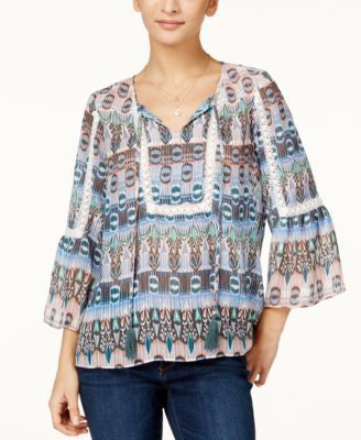 Jessica Simpson Juniors' Tabitha Printed Peasant Top