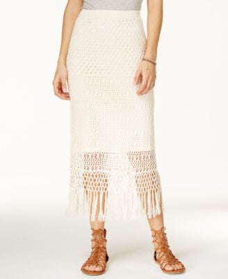 Jessica Simpson Rivera Fringe Crocheted Maxi Skirt
