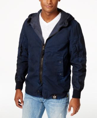GStar Men's Raw Over-Dye Full-Zip Hooded Jacket