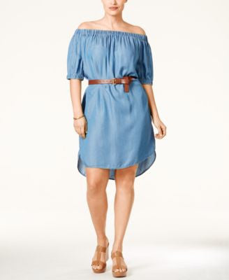 MICHAEL Michael Kors Plus Size Off-The-Shoulder Denim Dress