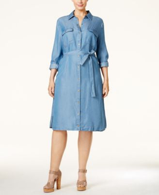 MICHAEL Michael Kors Plus Size Denim Shirtdress