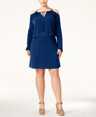 MICHAEL Michael Kors Plus Size Cold-Shoulder Blouson Dress