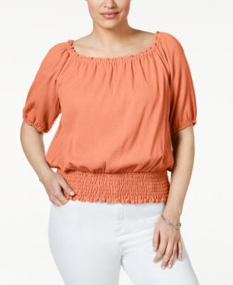 MICHAEL Michael Kors Plus Size Smocked Peasant Top