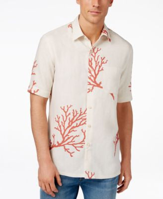 Tasso Elba Short-Sleeve Coral Sea Print Shirt, Only at Vogily