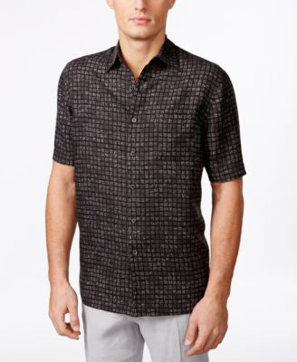 Tasso Elba Men's Big & Tall Naples Printed Short-Sleeve Shirt, Only at Vogily