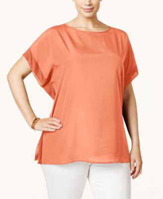 MICHAEL Michael Kors Plus Size Ribbed-Trim Poncho Top