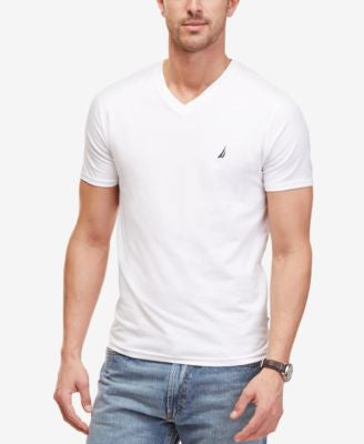 Nautica Men's Short Sleeve V-Neck Logo T-Shirt
