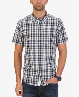 Nautica Men's Big & Tall Navy Plaid Short Sleeve Shirt