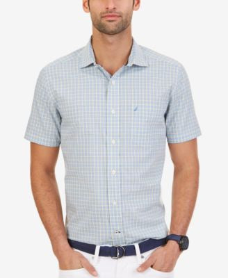 Nautica Men's Wrinkle-Resistant Provence Plaid Short Sleeve Shirt