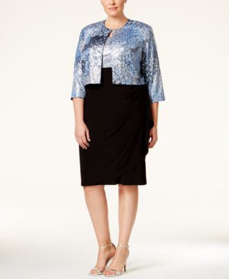 MSK Plus Size Peacock-Print Sequined Sleeveless Dress and Jacket
