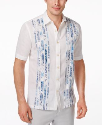 Tasso Elba Men's Big and Tall Tropical Taping Short-Sleeve Shirt, Only at Vogily