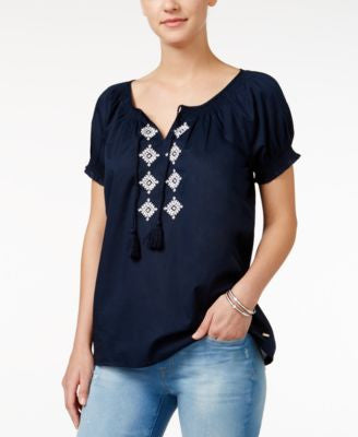 Tommy Hilfiger Embellished Peasant Top