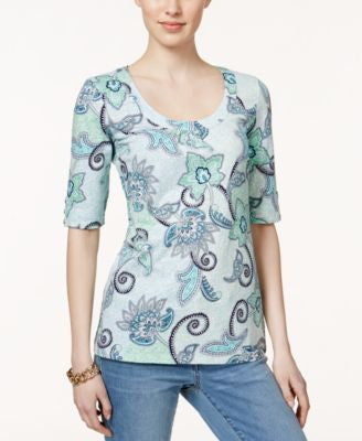 Charter Club Scoop-Neck Paisley-Print Top, Only at Vogily