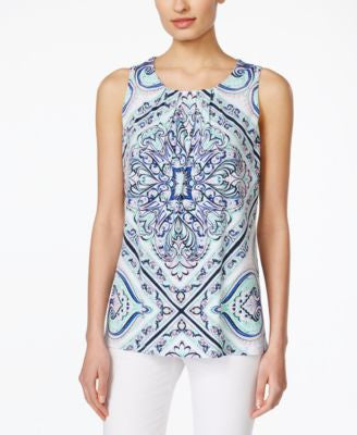 Charter Club Paisley-Print Sleeveless Top, Only at Vogily
