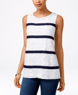 Charter Club Anchor Printed Sleeveless Top, Only at Vogily