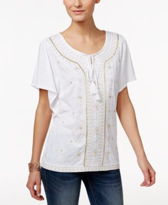JM Collection Embellished Peasant Top, Only at Vogily