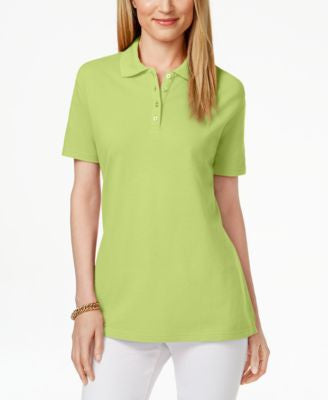 Karen Scott Petite Pique Polo Shirt, Only at Vogily