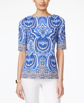Charter Club Paisley-Print Boat-Neck Top, Only at Vogily
