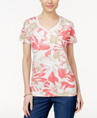 Karen Scott Petite Printed Henley T-Shirt, Only at Vogily