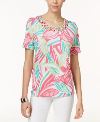 Alfred Dunner Petite Leaf-Print Lattice-Detail Top
