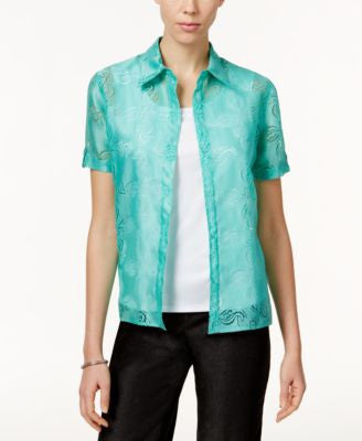 Alfred Dunner Tank-Inset Patterned Shirt